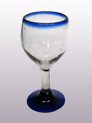 Wholesale MEXICAN GLASSWARE / 'Cobalt Blue Rim' small wine glasses  / Small wine glasses with a beautiful cobalt blue rim. Can be used for serving white wine or as an all-purpose wine glass.